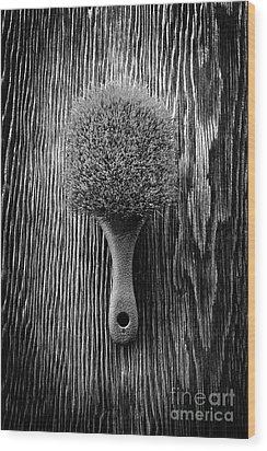 Scrub Brush Up Bw Wood Print