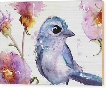 Wood Print featuring the painting Scrub Jay In The Wildflowers by Dawn Derman