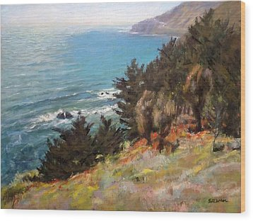 Sea And Pines Near Ragged Point, California Wood Print by Peter Salwen