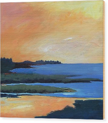 Wood Print featuring the painting Sea And Sky by Gary Coleman