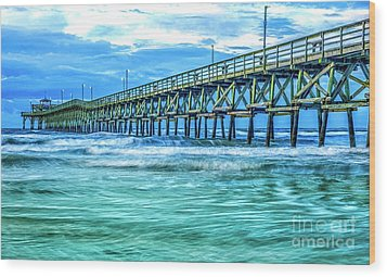 Sea Blue Cherry Grove Pier Wood Print
