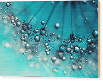 Wood Print featuring the photograph Sea Blue Shower by Sharon Johnstone