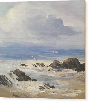 Wood Print featuring the painting Sea Breeze by Helen Harris