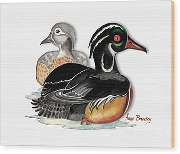Wood Print featuring the painting Sea Ducks by Anne Beverley-Stamps