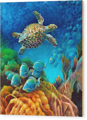 Wood Print featuring the painting Sea Escape IIi - Gemstone Hawksbill Turtle by Nancy Tilles
