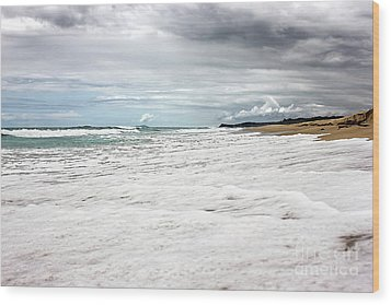 Wood Print featuring the photograph Sea Foam And Clouds By Kaye Menner by Kaye Menner