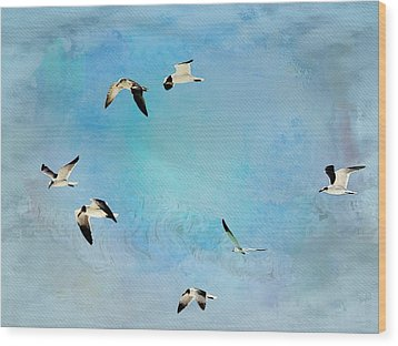 Wood Print featuring the photograph Sea Gulls In Flight by Athala Carole Bruckner