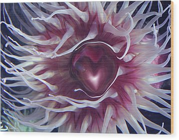 Wood Print featuring the digital art Sea Heart by Linda Sannuti