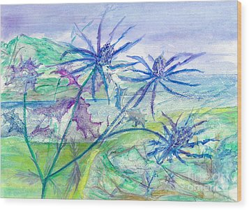 Sea Holly Wood Print