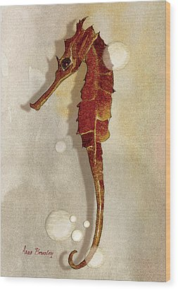 Sea Horse In Watercolor Wood Print