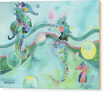 Sea Horses Dance Prints  Wood Print