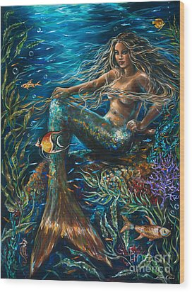 Sea Jewels Mermaid Wood Print