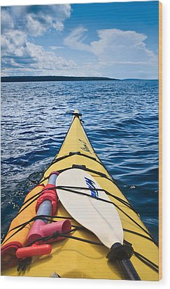 Sea Kayaking Wood Print by Steve Gadomski