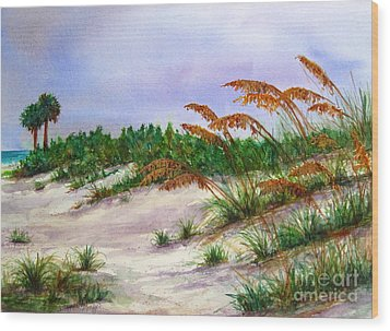 Sea Oats In The Dunes Wood Print
