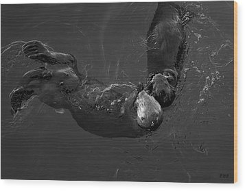 Wood Print featuring the photograph Sea Otters V Bw by David Gordon