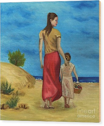 Sea Side Walk After Pino Wood Print by Kostas Koutsoukanidis