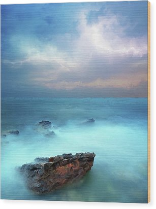 Sea Sky And Stone Wood Print by Michael Greenaway