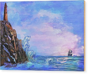 Wood Print featuring the painting Sea Stories 2  by Andrzej Szczerski