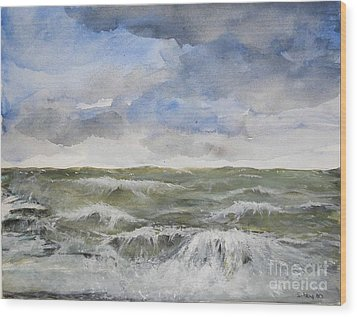 Wood Print featuring the painting Sea Storm by Sibby S