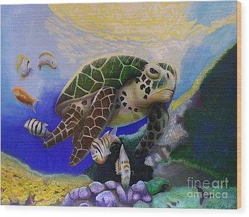 Sea Turtle Acrylic Painting Wood Print by Thomas J Herring