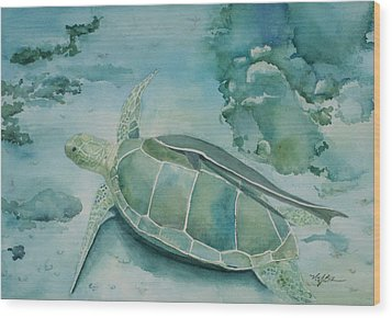 Sea Turtle And Friend Wood Print