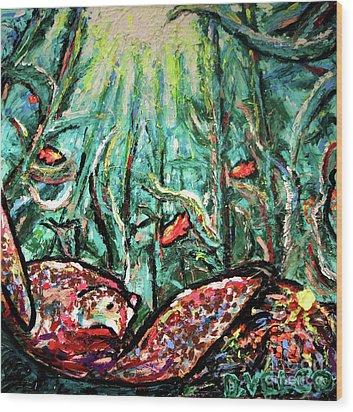 Sea Turtle And Garibaldi Wood Print by Dennis Velco