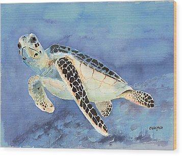 Sea Turtle Wood Print by Arline Wagner