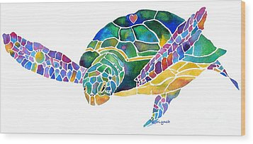 Sea Turtle Celebration 4 Prints Only Wood Print by Jo Lynch