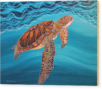 Wood Print featuring the painting Sea Turtle by Debbie Chamberlin