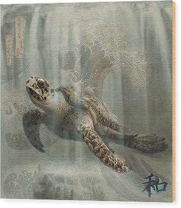 Sea Turtle Great Wave Wood Print by Karla Beatty