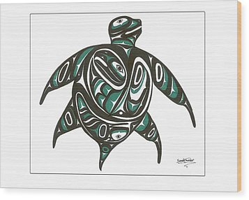Sea Turtle Green Wood Print by Speakthunder Berry