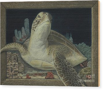 Sea Turtle Wood Print by Jennifer Watson