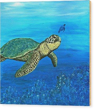 Sea Turtle Wood Print by Sabrina Zbasnik