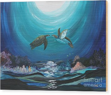 Wood Print featuring the painting Sea Turtles Greeting by Myrna Walsh