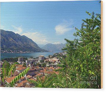 Sea View From Kotor Wood Print by Elizabeth Fontaine-Barr