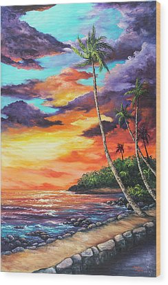 Wood Print featuring the painting Sea Wall Lahaina by Darice Machel McGuire