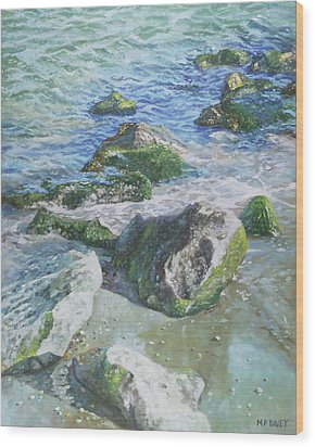 Wood Print featuring the painting Sea Water With Rocks On Shore by Martin Davey