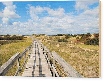 Wood Print featuring the photograph Seabound Boardwalk by Debbie Stahre