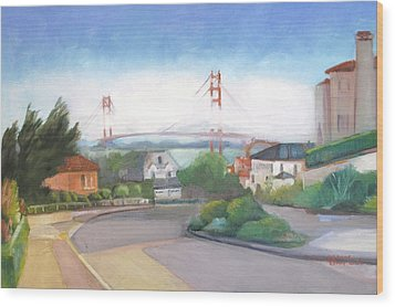 Seacliff Vision With Golden Gate Bridge In Fog Wood Print