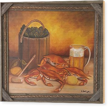 Seafood Night Wood Print by Susan Dehlinger
