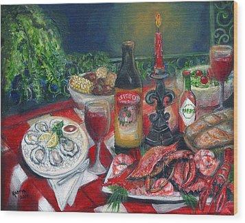 Seafood Soiree Wood Print by Karryn Arthur