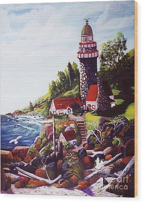 Wood Print featuring the painting Seagull Cove And Lighthouse by Myrna Walsh