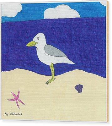 Seagull Wood Print by Jayson Halberstadt