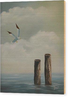Seagull Landing Wood Print by Joni McPherson
