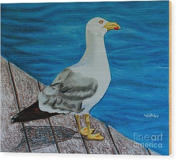 Seagull On The Shore - Gaviota En La Costa Wood Print by Melvin Rodriguez
