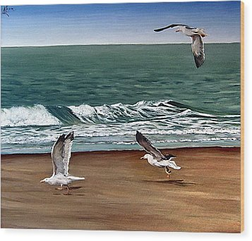 Wood Print featuring the painting Seagulls 2 by Natalia Tejera