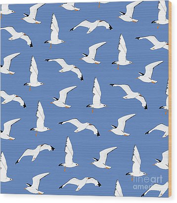 Seagulls Gathering At The Cricket Wood Print