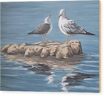 Wood Print featuring the painting Seagulls In The Sea by Natalia Tejera