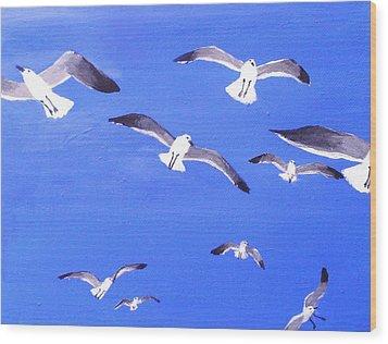 Seagulls Overhead Wood Print