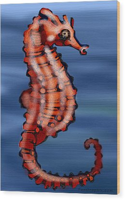 Seahorse Wood Print by Kevin Middleton
